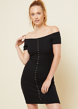 Black Ribbed Knit Snap Placket Bodycon Dress