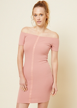 Pink Ribbed Knit Snap Placket Bodycon Dress
