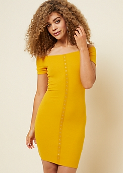 Yellow Ribbed Knit Snap Placket Bodycon Dress
