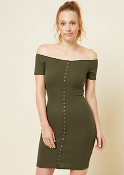 Green Ribbed Knit Snap Placket Bodycon Dress