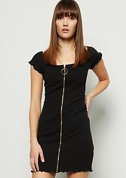 Black Ribbed Knit Off The Shoulder Zip Front Mini Dress
