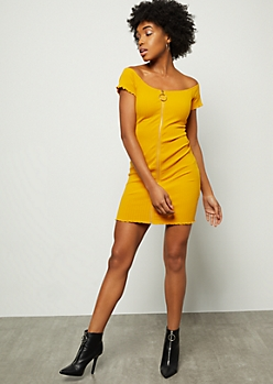 84aa9e0140 Mustard Ribbed Knit Off The Shoulder Zip Front Mini Dress