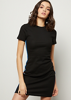 Black Rainbow Side Striped T Shirt Dress