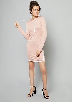 Pink Fitted Hoodie Mini Dress
