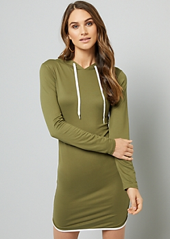 Olive Fitted Hoodie Mini Dress