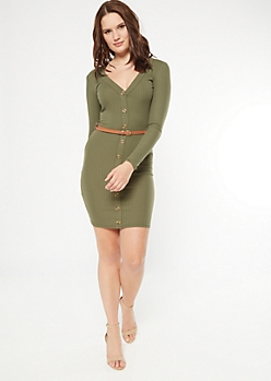 Olive Ribbed Knit Button Front Belted Dress