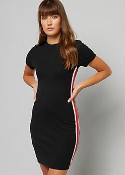 Black Side Striped Ribbed Knit Dress