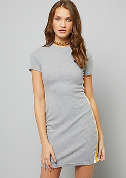 Heather Gray Side Striped Ribbed Knit Dress