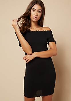 Black Lettuce Edge Off The Shoulder Dress