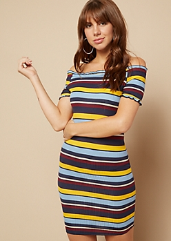 Blue Striped Lettuce Edge Off The Shoulder Dress