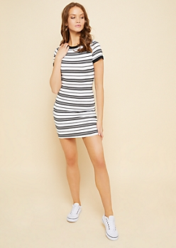 White Striped Pattern Ribbed Neckline T Shirt Dress