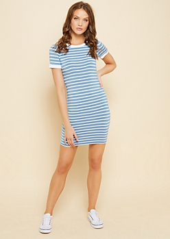 Blue Striped Pattern Ribbed Neckline T Shirt Dress
