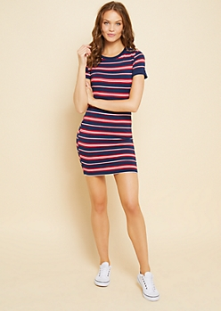 Red Striped Pattern Ribbed Neckline T Shirt Dress