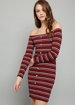 Burgundy Button Down Off The Shoulder Mini Dress