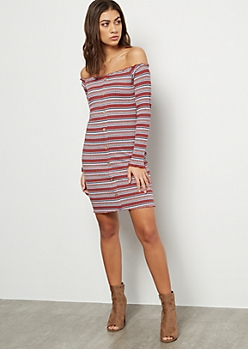 Mauve Striped Button Down Off The Shoulder Mini Dress