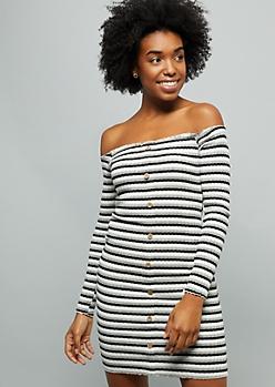 c43347e6f15e Black Striped Button Down Off The Shoulder Mini Dress