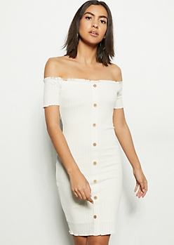 Ivory Off The Shoulder Button Front Mini Dress