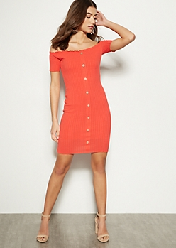 Red Off The Shoulder Button Front Mini Dress