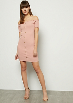 Pink Ribbed Knit Off The Shoulder Button Down Mini Dress