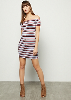 Mauve Striped Off The Shoulder Button Mini Dress