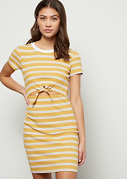 Mustard Striped Ribbed Knit Tie Cutout T Shirt Dress