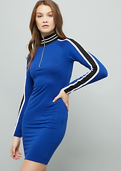 Blue Side Striped Super Soft Half Zip Mini Dress