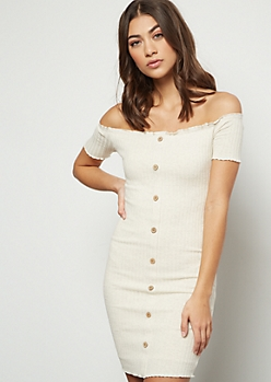 Oatmeal Off The Shoulder Button Down Ribbed Dress