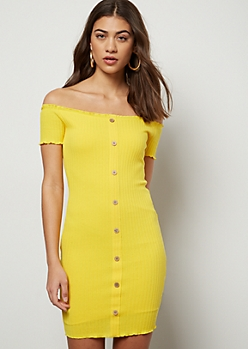 Yellow Off The Shoulder Button Down Ribbed Dress