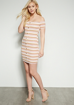 Pink Striped Off The Shoulder Button Down Ribbed Dress