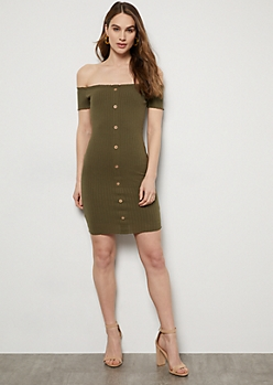 Olive Off The Shoulder Button Down Ribbed Dress