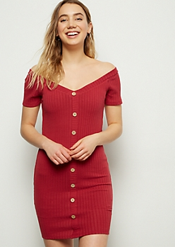 Red Ribbed Knit Button Down Bodycon Dress