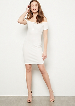 White Off The Shoulder Zip Bodycon Dress