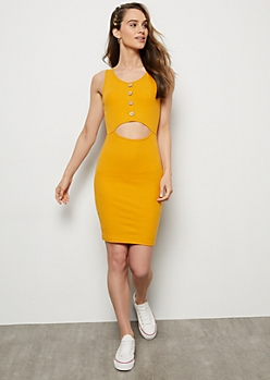 Mustard Ribbed Knit Cutout Midi Bodycon Dress