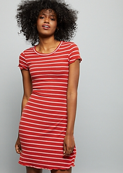 Burnt Orange Striped Ribbed Knit Short Sleeve Dress