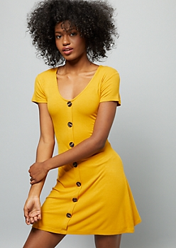 Mustard Ribbed Knit Button Down Skater Dress