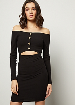 Black Off The Shoulder Buttoned Cutout Mini Dress