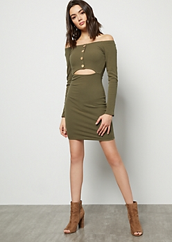 Olive Off The Shoulder Buttoned Cutout Mini Dress