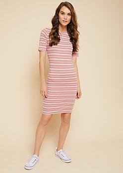 Pink Striped Pattern Ribbed Knit T Shirt Dress
