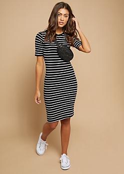 Black Striped Pattern Ribbed Knit T Shirt Dress