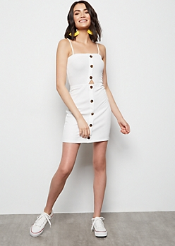 Ivory Button Down Sleeveless Cutout Dress
