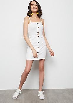 Ivory Button Down Sleeveless Cutout Dress