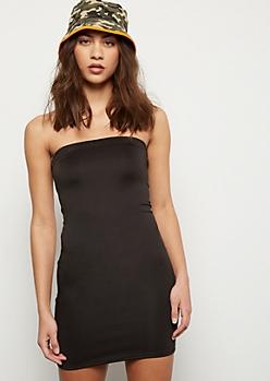 Black Strapless Mini Tube Dress