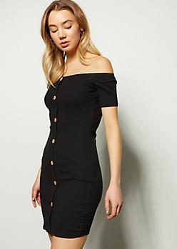 Black Button Down Off The Shoulder Mini Dress