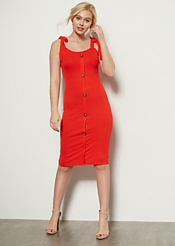 Red Button Down Tie Strap Midi Dress