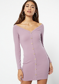 Lavender Long Sleeve Button Down Bodycon Dress