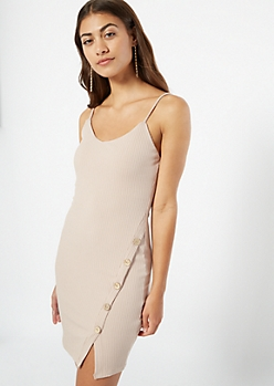 Nude Ribbed Knit Side Button Asymmetrical Dress