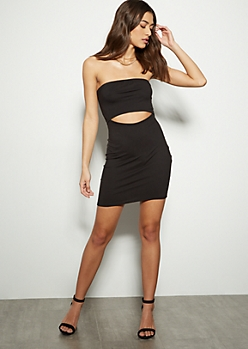 Black Cutout Bodycon Tube Dress