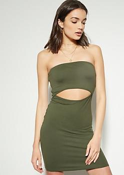 Olive Cutout Bodycon Tube Dress