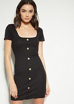 Black Button Down Square Neck Dress