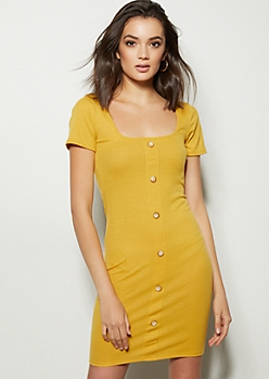 e28c26cb1b8 Yellow Button Down Square Neck Dress